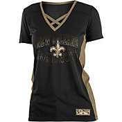 NFL Team Apparel Women's New Orleans Saints Mesh Lace Black T-Shirt