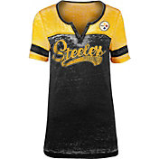 NFL Team Apparel Women's Pittsburgh Steelers Foil Burnout V-Neck T-Shirt