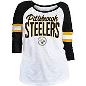 NFL Team Apparel Women's Pittsburgh Steelers Glitter Slub White Raglan Shirt