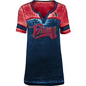 NFL Team Apparel Women's Houston Texans Foil Burnout V-Neck T-Shirt