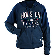 NFL Team Apparel Women's Houston Texans Glitter Tri-Blend Fleece Full-Zip Hoodie