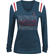 NFL Team Apparel Women's Houston Texans Tri-Blend Foil Navy Long Sleeve Shirt