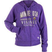 NFL Team Apparel Women's Minnesota Vikings Glitter Tri-Blend Fleece Full-Zip Hoodie