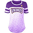 NFL Team Apparel Women's Minnesota Vikings Space Dye Rhinestone T-Shirt