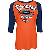 NFL Team Apparel Youth Denver Broncos Football Girls' Football Raglan Shirt