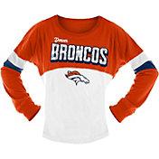 NFL Team Apparel Girls' Denver Broncos Sequins Long Sleeve Shirt