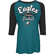 NFL Team Apparel Youth Philadelphia Eagles Football Girls' Football Raglan Shirt
