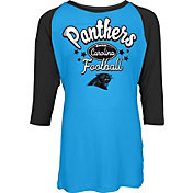 NFL Team Apparel Youth Carolina Panthers Football Girls' Football Raglan Shirt