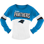 NFL Team Apparel Girls' Carolina Panthers Sequins Long Sleeve Shirt