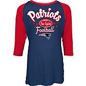 NFL Team Apparel Youth New England Patriots Football Girls' Football Raglan Shirt