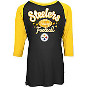 NFL Team Apparel Youth Pittsburgh Steelers Football Girls' Football Raglan Shirt