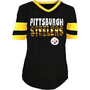 NFL Team Apparel Girls' Pittsburgh Steelers Mesh Black Jersey Top