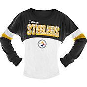 NFL Team Apparel Girls' Pittsburgh Steelers Sequins Long Sleeve Shirt