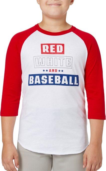 1685d18522d adidas Boys' Red White   Baseball ¾ Sleeve Baseball Shirt