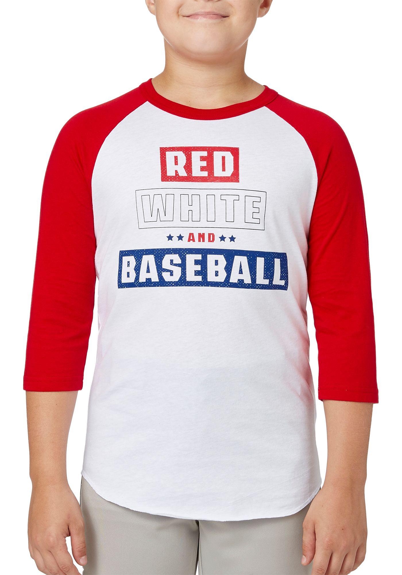 adidas Boys' Red White & Baseball ¾ Sleeve Baseball Shirt