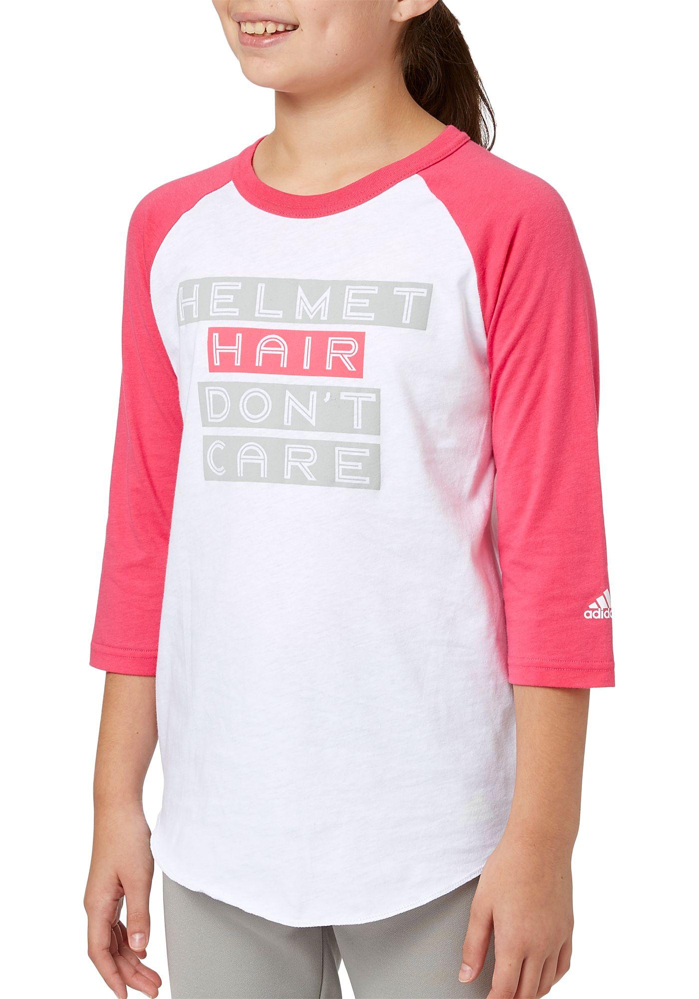 adidas Girls' Helmet Hair ¾ Sleeve Softball Shirt