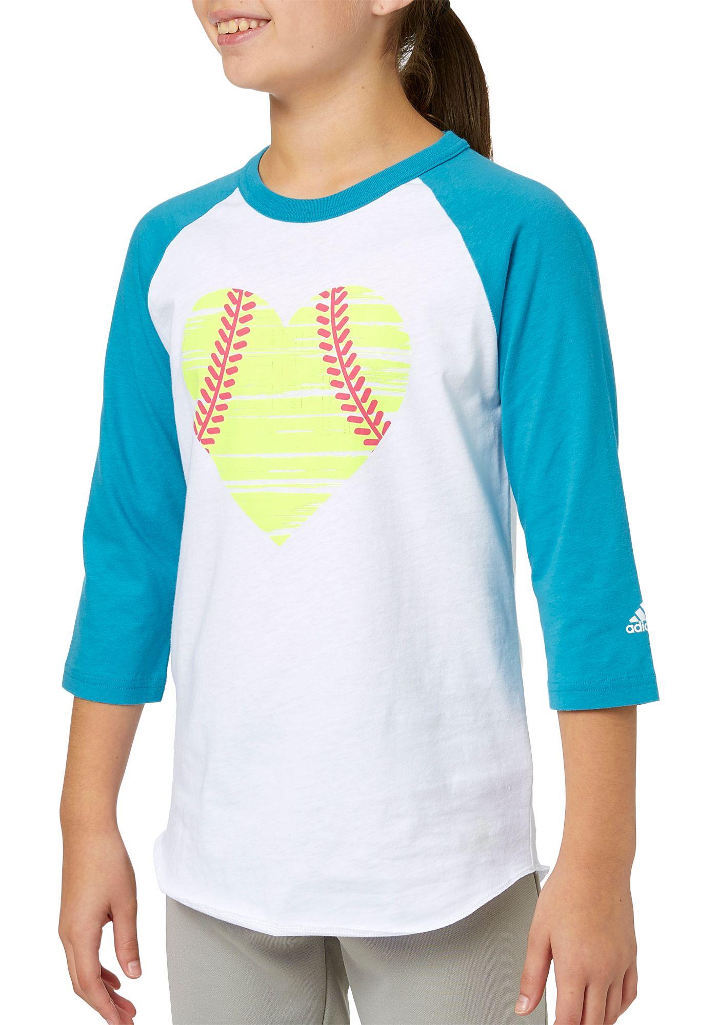 adidas Girls' Destiny Heart ¾ Sleeve Softball Shirt