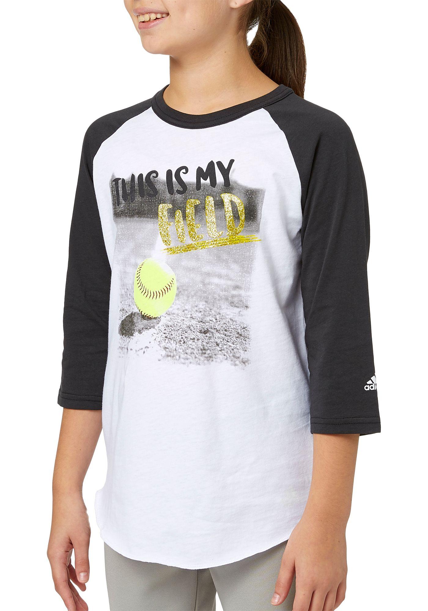 adidas Girls' My Field ¾ Sleeve Softball Shirt