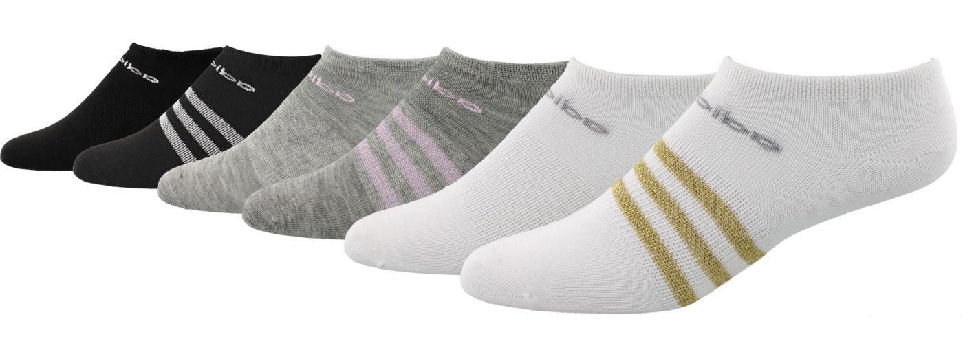 adidas Girls' Superlite No Show Socks - 6 Pack
