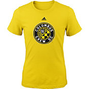 adidas Youth Girls' Columbus Crew Big Logo Yellow T-Shirt