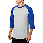 adidas Men's Triple Stripe ¾ Sleeve Heather Baseball Shirt