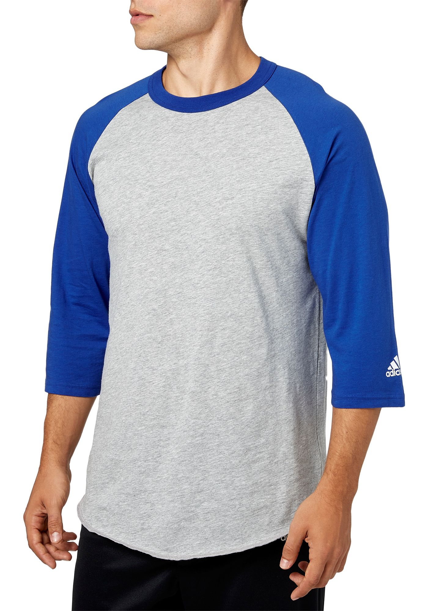 adidas Men's Triple Stripe ¾ Sleeve Heather Baseball Shirt