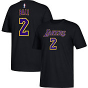 adidas Men's Los Angeles Lakers Lonzo Ball #2 Black T-Shirt