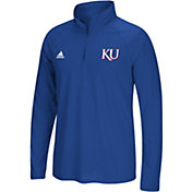 adidas Men's Kansas Jayhawks Blue Logo Long Sleeve Quarter-Zip Shirt