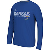 adidas Men's Kansas Jayhawks Blue Sideline Grind Ultimate Long Sleeve Shirt