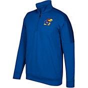 adidas Men's Kansas Jayhawks Blue Team Issue Basketball Quarter-Zip Fleece