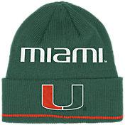 adidas Men's Miami Hurricanes Green Cuffed Knit Beanie