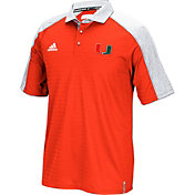 adidas Men's Miami Hurricanes Orange Sideline Coaches Football Polo