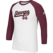 adidas Men's Mississippi State Bulldogs Go-To Three-Quarter Performance White T-Shirt