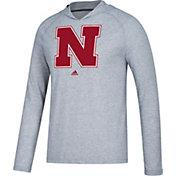 adidas Men's Nebraska Cornhuskers Grey Long Sleeve Performance Hoodie