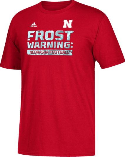 Men's 'frost Scarlet Shirt Cornhuskers Adidas Football Nebraska Warning' T AwqdIfIHS