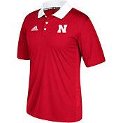 adidas Men's Nebraska Cornhuskers White Sideline Coaches Polo