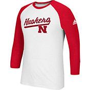adidas Men's Nebraska Cornhuskers Go-To Three-Quarter Performance White T-Shirt