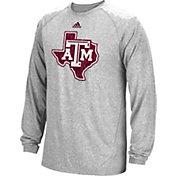 adidas Men's Texas A&M Aggies Grey Sideline Spine Long Sleeve Shirt