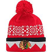 adidas Men's Chicago Blackhawks Ugly Sweater Red Pom Knit Beanie