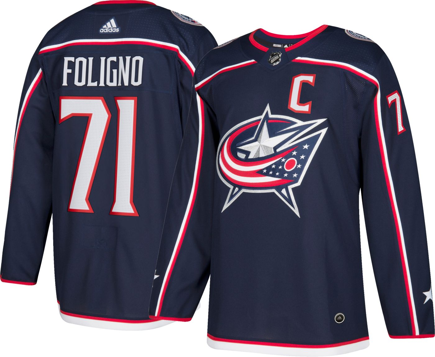 adidas Men's Columbus Blue Jackets Nick Foligno #71 Authentic Pro Home Jersey