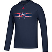 adidas Men's Columbus Blue Jackets Journeyman Ultimate Navy Performance Pullover Hoodie
