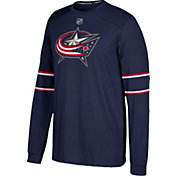 adidas Men's Columbus Blue Jackets Jersey Navy Long Sleeve Shirt