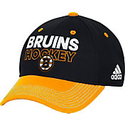 adidas Men's Boston Bruins Locker Room Black Structured Fitted Flex Hat