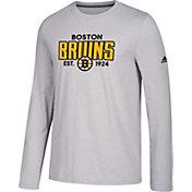 adidas Men's Boston Bruins Go-To Established Grey Performance Long Sleeve Shirt