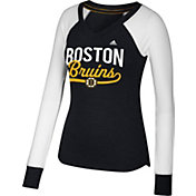 adidas Women's Boston Bruins Elbow Patch Black/White V-Neck Long Sleeve Shirt