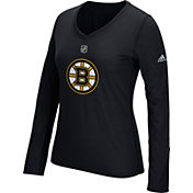 adidas Women's Boston Bruins Primary Position Black Performance V-Neck Long Sleeve Shirt