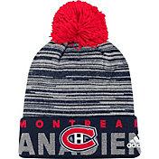 adidas Men's Montreal Canadiens Locker Room Navy Pom Knit Beanie