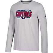 adidas Men's Washington Capitals Go-To Established Grey Performance Long Sleeve Shirt