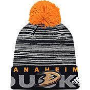 adidas Men's Anaheim Ducks Locker Room Black Pom Knit Beanie