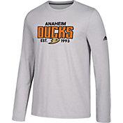 adidas Men's Anaheim Ducks Go-To Established Grey Performance Long Sleeve Shirt